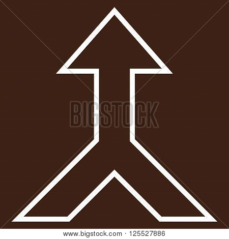 Combine Arrow Up vector icon. Style is outline icon symbol, white color, brown background.