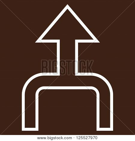 Combine Arrow Up vector icon. Style is contour icon symbol, white color, brown background.