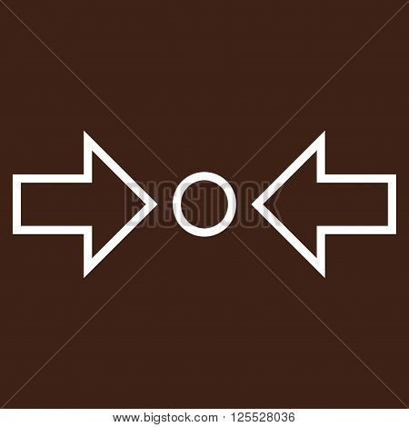 Compress Horizontal vector icon. Style is stroke icon symbol, white color, brown background.