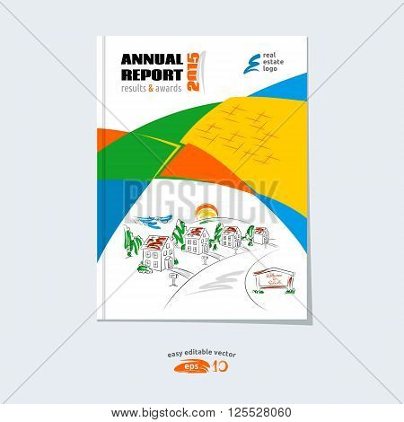 Brochure template cover design annual report magazine layout with hand drawn suburb picture vector illustration for real estate project