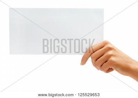 Hand holding White blank envelope mock up. High resolution product