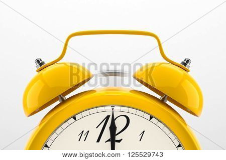 Ringing alarm clock. Yellow table shelf vintage clock on white background. Deadline, wake up, time is up, act fast, sale reminder, hot prices concept. 3D illustration