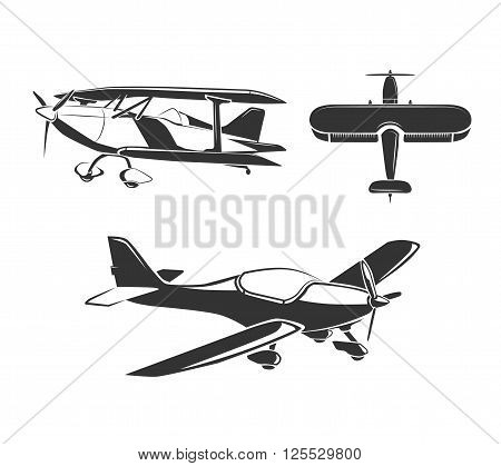 Vector elements for airplane emblems, labels and badges. Aircraft and airplane, fly airplane, flight airplane illustration