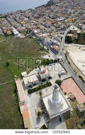 lighthouse in Portopalo from above, capo passero, sicily, italy