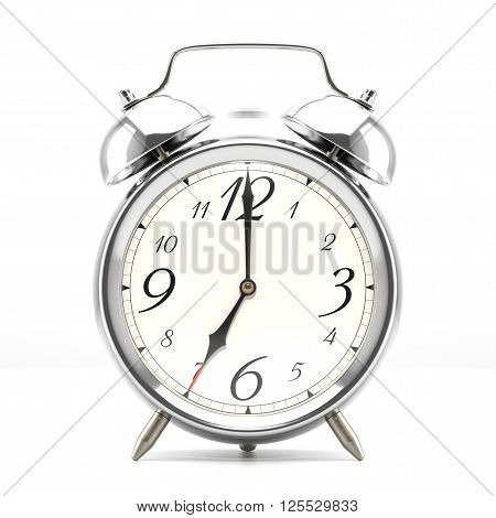 Ringing alarm clock. Silver table shelf vintage clock on white background. Deadline, wake up, time is up, act fast, sale reminder, hot prices concept. 3D illustration