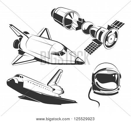 Vector elements for vintage space, astronaut labels and emblems. Rocket shuttle, flight shuttle ship, icon spaceship, shuttle illustration