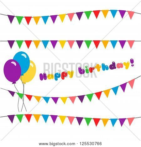 Vector illustration of holiday with flags and balloons. Set happy birthday. garland  isolated on white background.