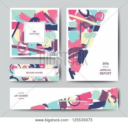 Modern grunge brush design templates, annual report, banner, art vector cards design in bright colors