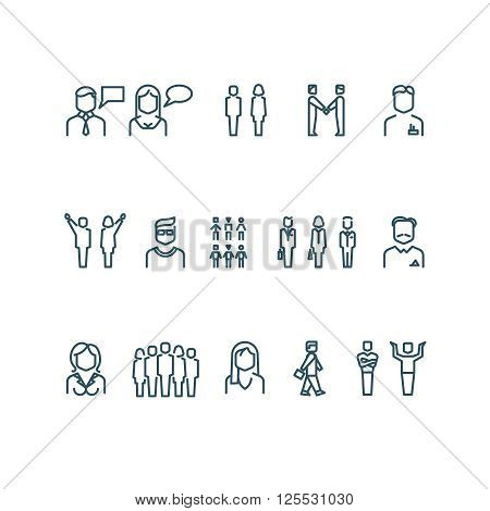 People outline vector icons. Outline person people, business people, businessman manager people illustration
