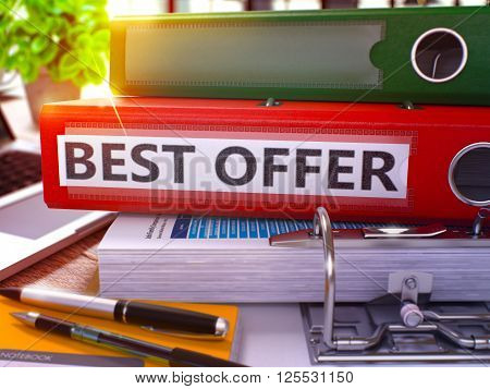 Red Ring Binder with Inscription Best Offer on Background of Working Table with Office Supplies and Laptop. Best Offer Business Concept on Blurred Background. 3D Render.