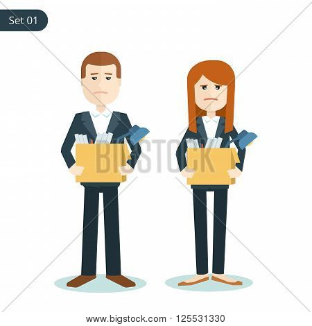 unemployed sad man and woman with boxes in their hands during the financial crisis. flat illustration isolated on white background.