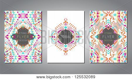 Vector set of geometric colorful brochure template for business and invitation. Ethnic tribal aztec style. A4 layout format. Modern ethno ikat pattern