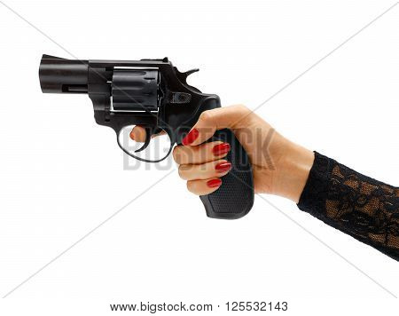 Female hand aiming revolver gun. Studio photography of woman's hand holding handgun - isolated on white background. Business concept