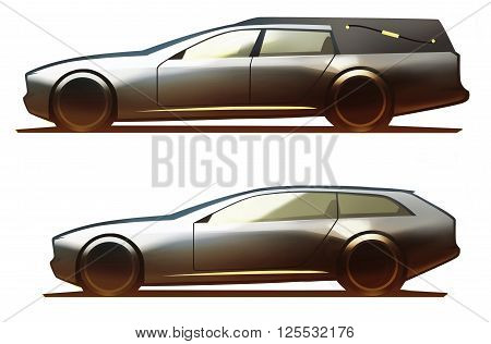 Car body hearse and shooting brake isolated on white background