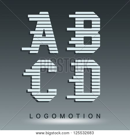 Alphabet font template. Set of letters A, B, C, D logo or icon. Vector illustration.