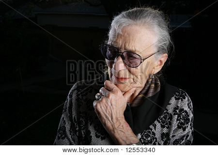 Beautiful Senior Woman Thinking