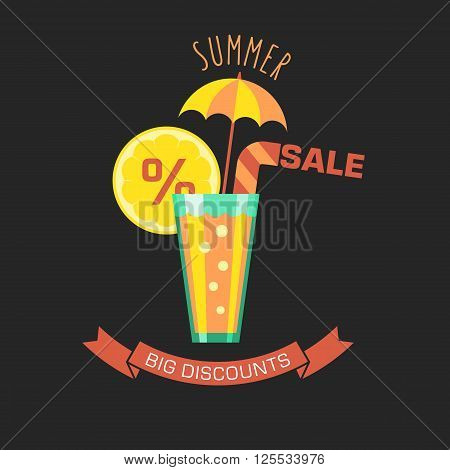 Summer sale flat vector illustration. Glass with a cocktail umbrella and an inscription: Summer Sale Big Discounts.