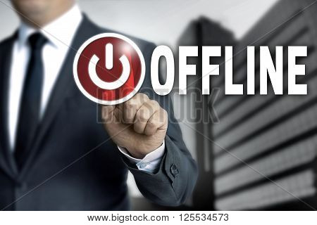 offline touchscreen is operated by businessman background