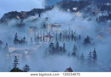 SAPA, VIETNAM  the town of Sa Pa, Vietnam, morning fog