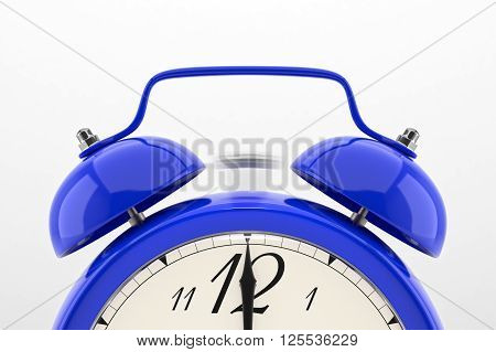 Ringing alarm clock. Blue table shelf vintage clock on white background. Deadline, wake up, time is up, act fast, sale reminder, hot prices concept. 3D illustration