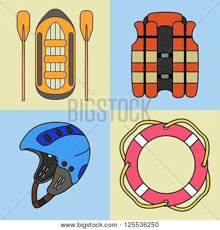 Vector set of rafting equipment - vest ring-buoy rafts helmet. On isolated background.