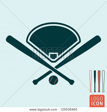 Baseball icon. Baseball symbol. Baseball bats icon isolated. Baseball ball icon isolated. Baseball field icon isolated. Vector illustration