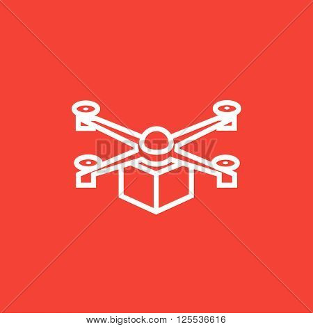 Drone delivering package line icon.