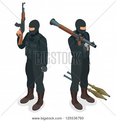 Spec ops police officers SWAT in black uniform. Soldier, officer, sniper, special operation unit, SWAT flat 3d isometric illustration. Soldier with AT rocket launcher