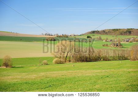 Beautiful spring landscape with forest meadow and village