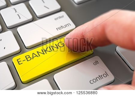 Hand Finger Press E-banking Key. White Keyboard with E-banking Yellow Button. Hand Touching E-banking Keypad. Hand of Young Man on E-banking Yellow Key. 3D Rendering.