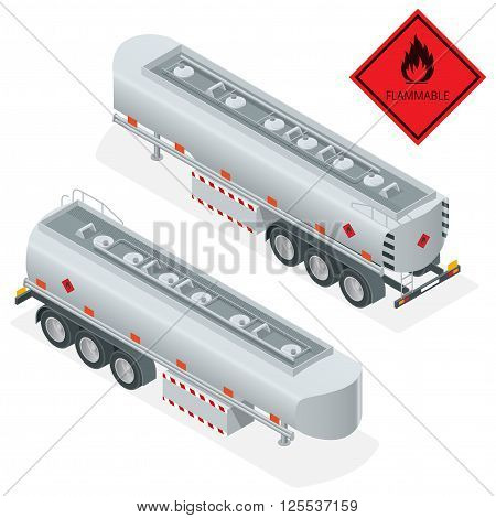 Fuel gas tanker truck isometric illustration. Truck with fuel 3d vector. Automotive fuel tanker shipping fuel. Oil Truck isometric vector. Fuel tanker truck