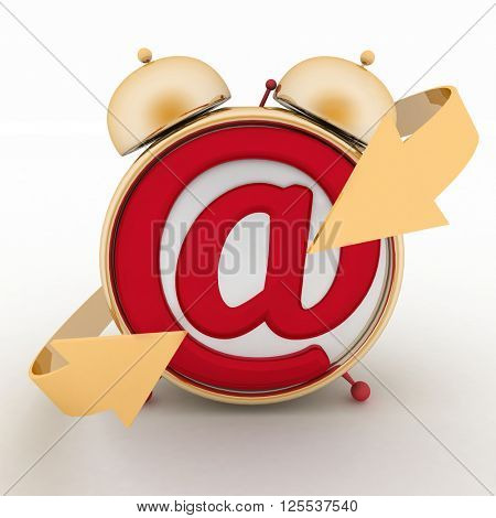Alarm clock and symbol of e-mail. Concept online support. 3d render illustration