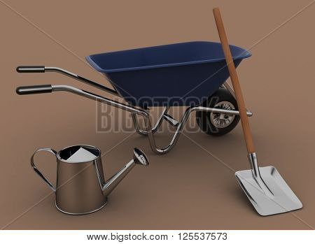 Garden tools. Garden wheelbarrow, watering can and a shovel. 3d illustration on a white background