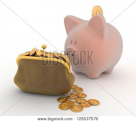 Piggy Bank and Dollar, Finance concept