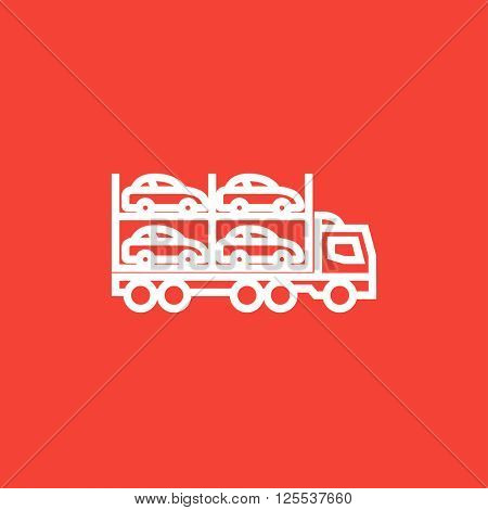 Car carrier line icon.