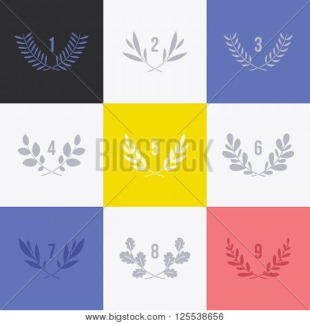 Set of minimalistic laurel wreaths. Collection of conceptual modern symbols for icons and designs