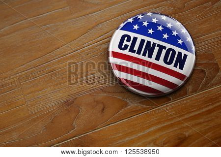 WASHINGTON, DC - APRIL 10, 2016: Illustration of presidential campaign button of Hillary Clinton running for the president's office.