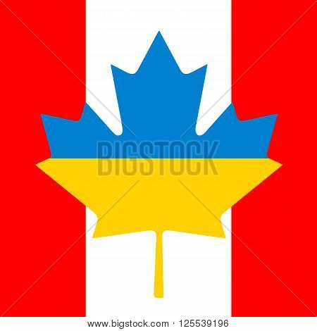 Canada Ukraine Flag Friendship. Background foe post cards.