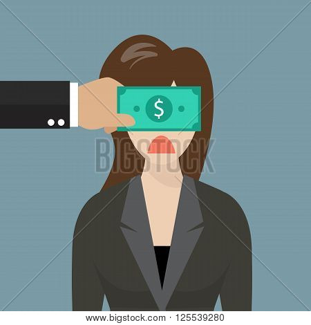 Business woman with dollar banknote taped to eyes. Business concept