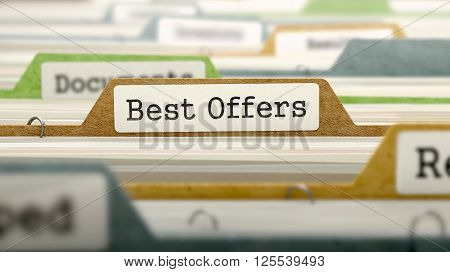 Best Offers Concept. Colored Document Folders Sorted for Catalog. Closeup View. Selective Focus. 3D Render.