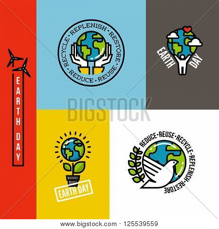 Ecology go green and eco-friendly concepts with Earth planet human hands and peace dove. Set of environmentally themed flat line vector illustrations