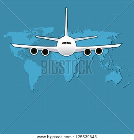 Civil aviation travel passenger air plane vector illustration. Civil commercial airplane flying. Travel plane on map background. Cargo transportation airplane vector isolated