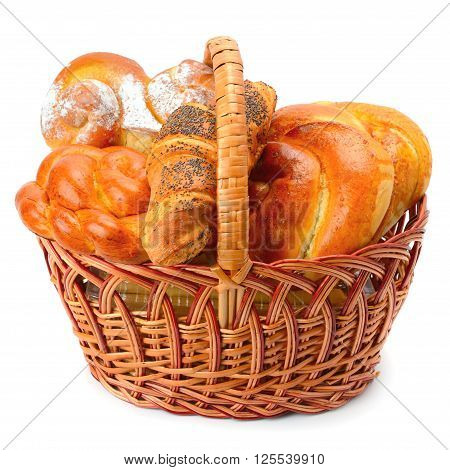sweet rolls in basket isolated on white background