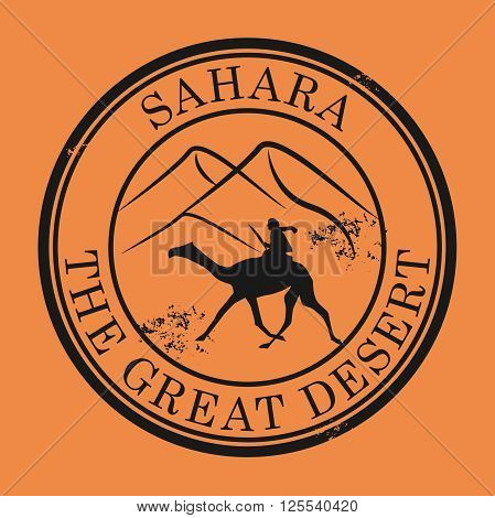 Grunge rubber stamp with Camel and the text Sahara Desert, vector illustration