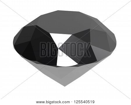 Gemstone black diamond isolated on white background. 3D render