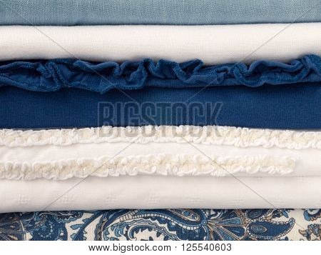Breezy summer white and blue seaside clothes with different textures