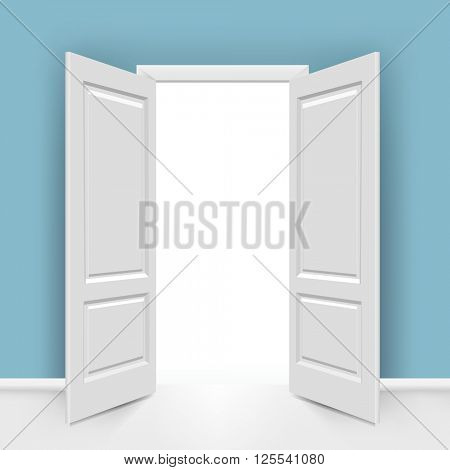 Open Doors With Gradient Mesh, Vector Illustration
