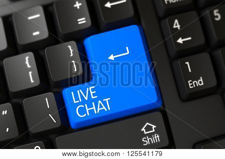 A Keyboard with Blue Button - Live Chat. PC Keyboard Keypad Labeled Live Chat. Blue Live Chat Key on Keyboard. Keypad Live Chat on Computer Keyboard. 3D.