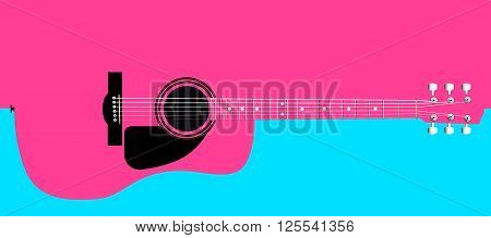 A typical acoustic guitar isolated over a pink and white background.
