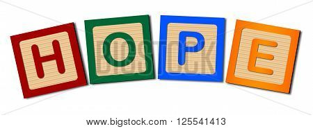 A collection of wooden block letters spelling the word HOPE